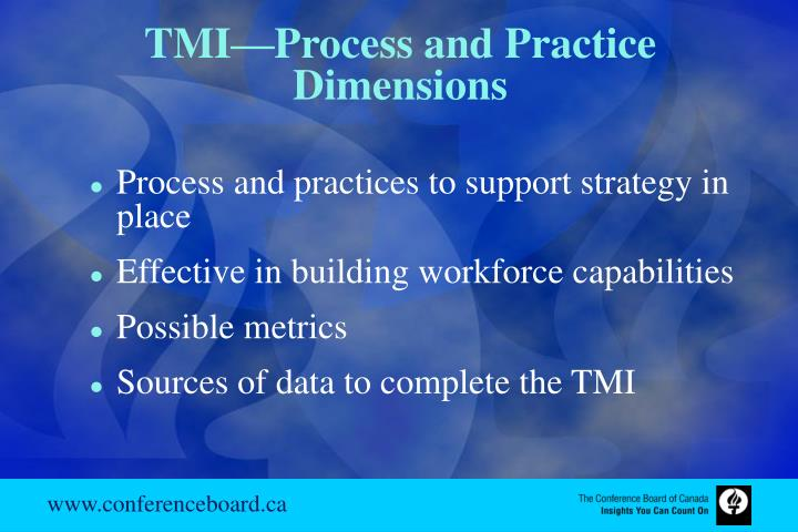 TMI—Process and Practice Dimensions