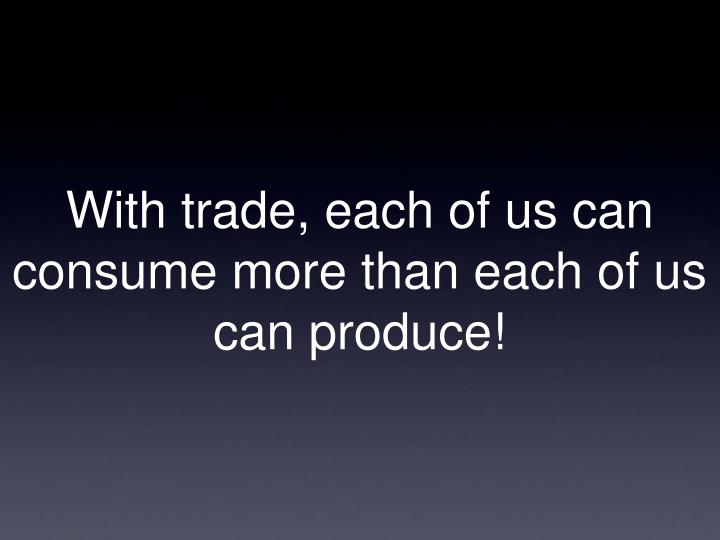 With trade, each of us can consume more than each of us can produce!