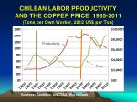 chilean labor productivity and the copper price 1985 2011 tons per own worker 2012 us per ton1