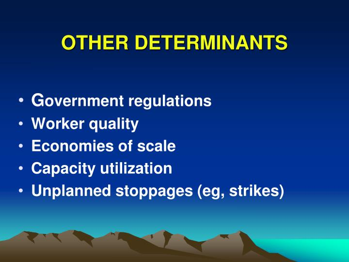 OTHER DETERMINANTS