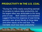productivity in the u s coal