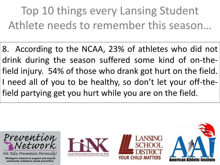 Top 10 things every Lansing Student Athlete needs to remember this season…