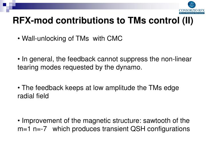 RFX-mod contributions to TMs control (II)