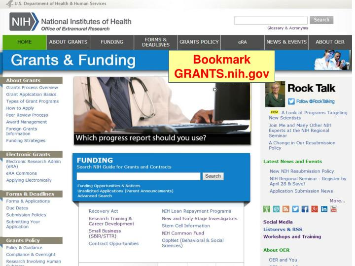 Bookmark Grant.nih.gov