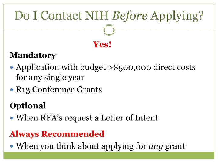 Do I Contact NIH