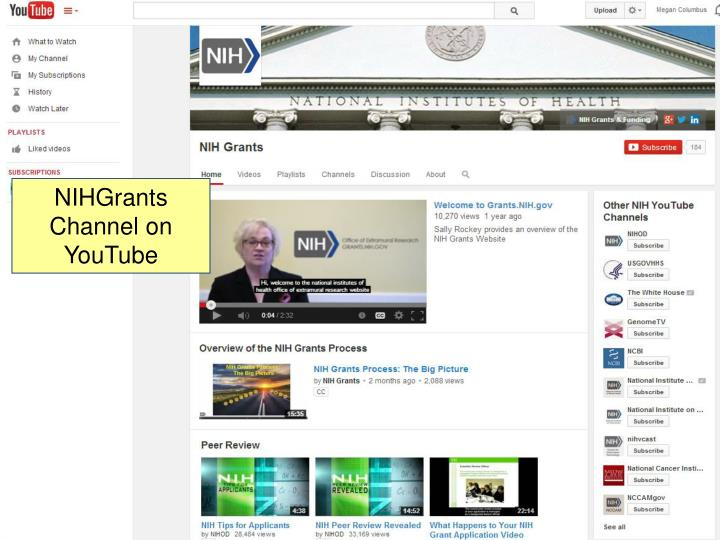 NIH Grants YouTube Channel