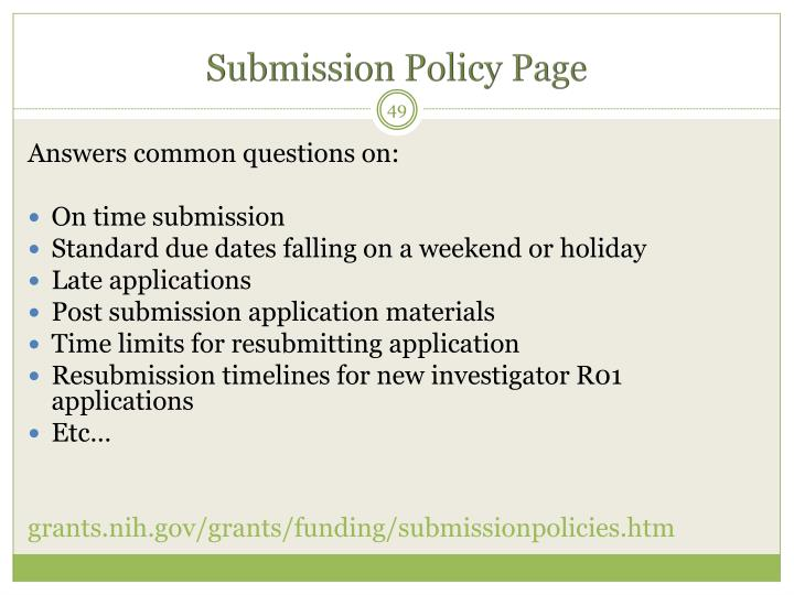 Submission Policy Page