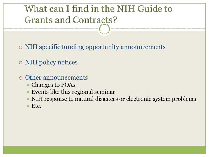 NIH specific funding opportunity announcements