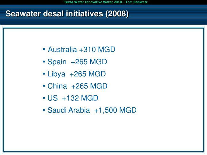 Seawater desal initiatives (2008)