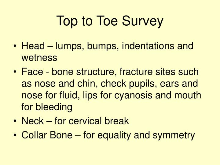 Top to Toe Survey