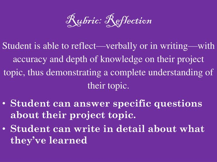 Rubric: Reflection