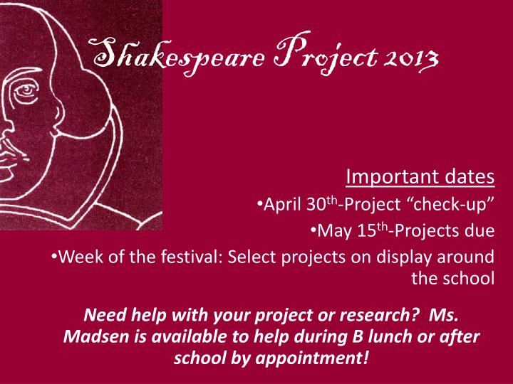 Shakespeare project 2013