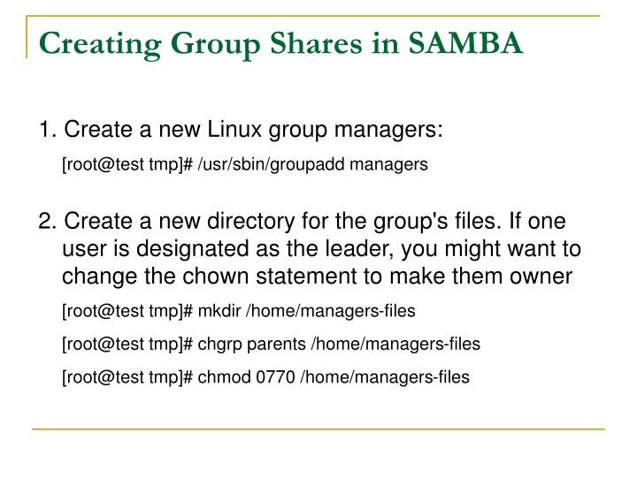 Creating Group Shares in SAMBA