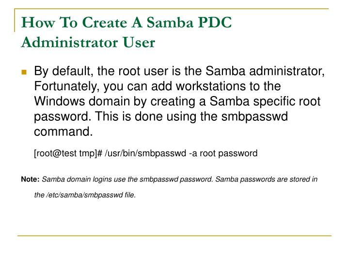 How To Create A Samba PDC Administrator User