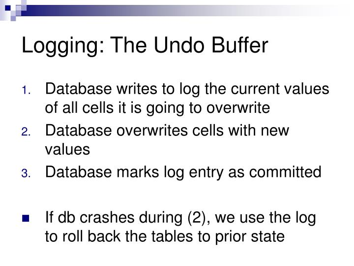 Logging: The Undo Buffer