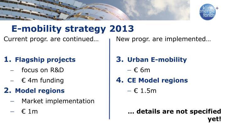E-mobility strategy 2013
