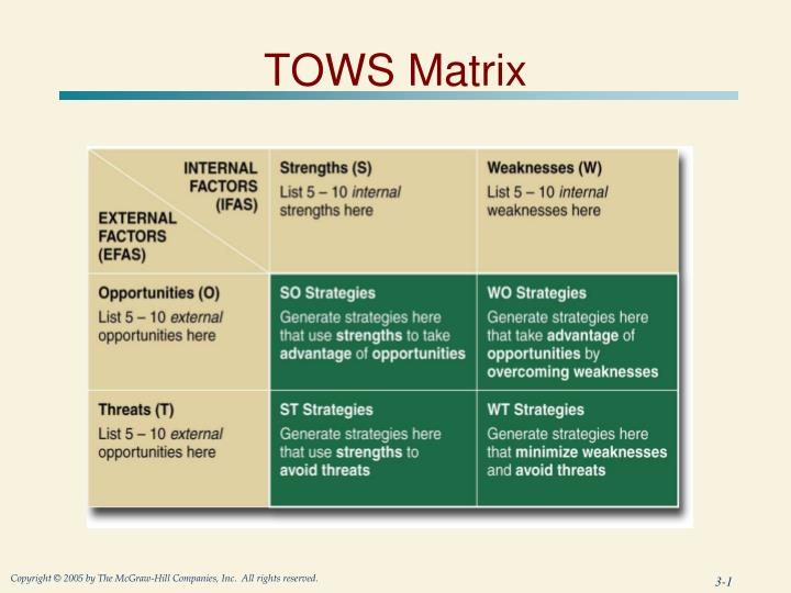 home depot tows matrix Table of contents for strategic management and business policy its propitious niche 143 62 review of mission and objectives 143 63 generating alternative strategies by using a tows matrix 144 64 business what should management do case 20 the home depot, inc.