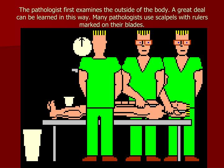 The pathologist first examines the outside of the body. A great deal can be learned in this way. Many pathologists use scalpels with rulers marked on their blades.