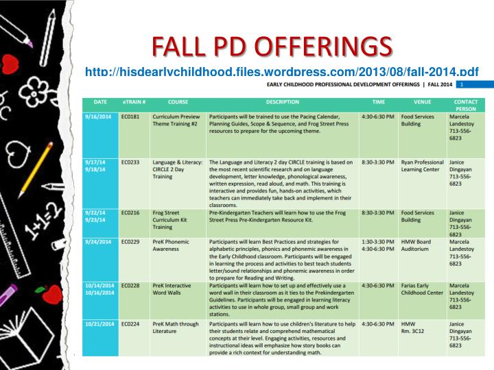 FALL PD OFFERINGS
