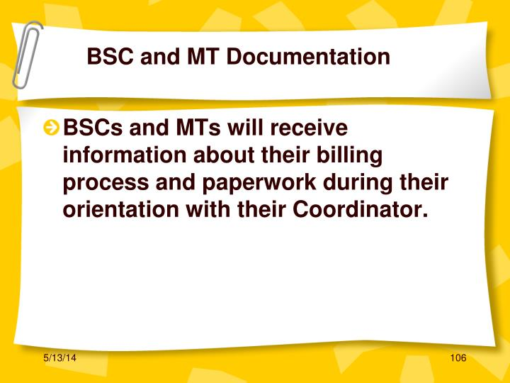 BSC and MT Documentation