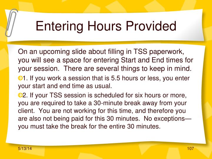 Entering Hours Provided
