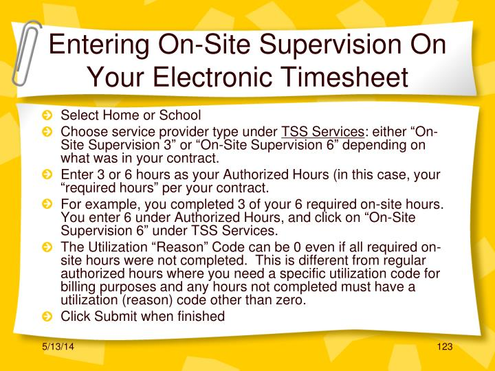 Entering On-Site Supervision On Your Electronic Timesheet