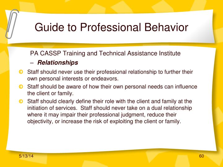 Guide to Professional Behavior