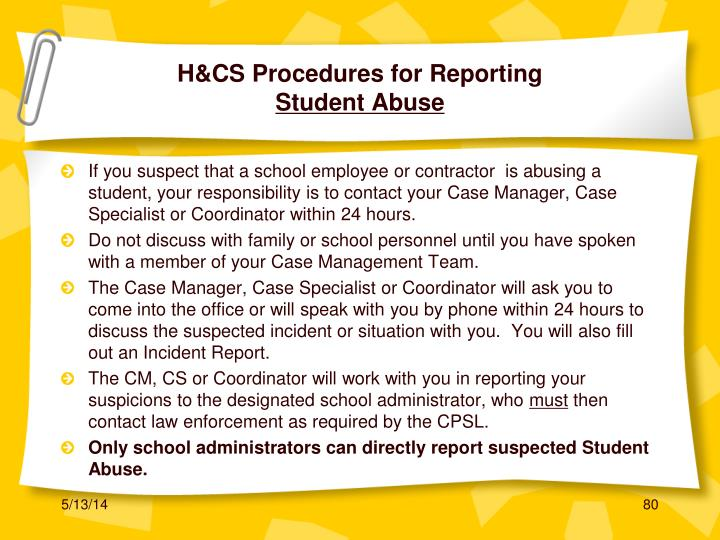 H&CS Procedures for Reporting