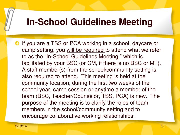 In-School Guidelines Meeting