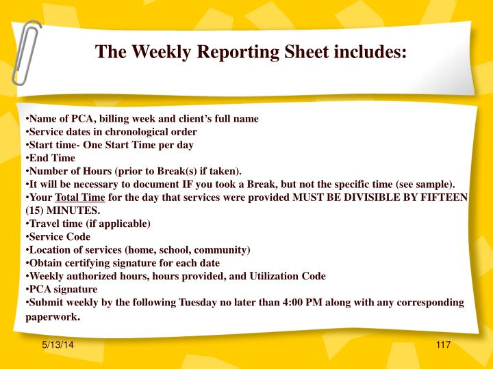 The Weekly Reporting Sheet includes: