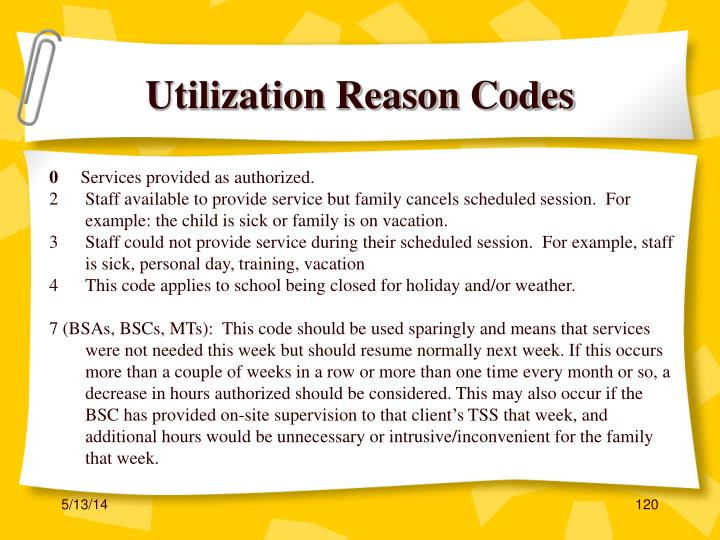 Utilization Reason Codes