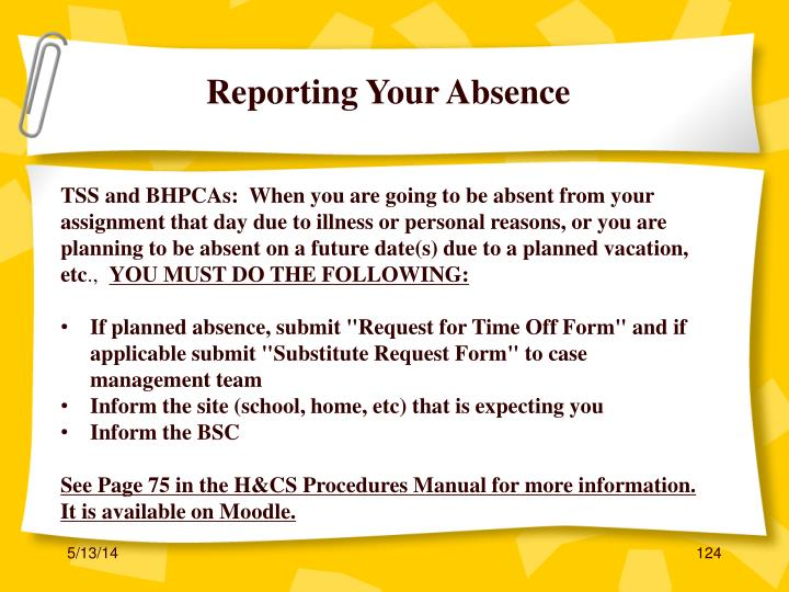 Reporting Your Absence