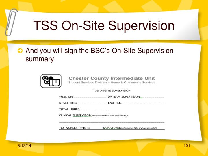 TSS On-Site Supervision