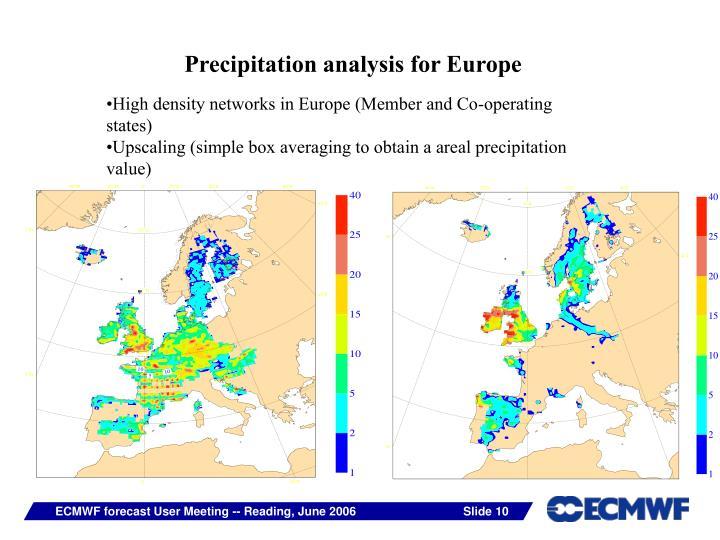 Precipitation analysis for Europe