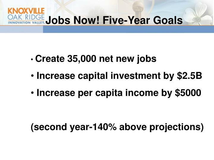 Jobs Now! Five-Year Goals