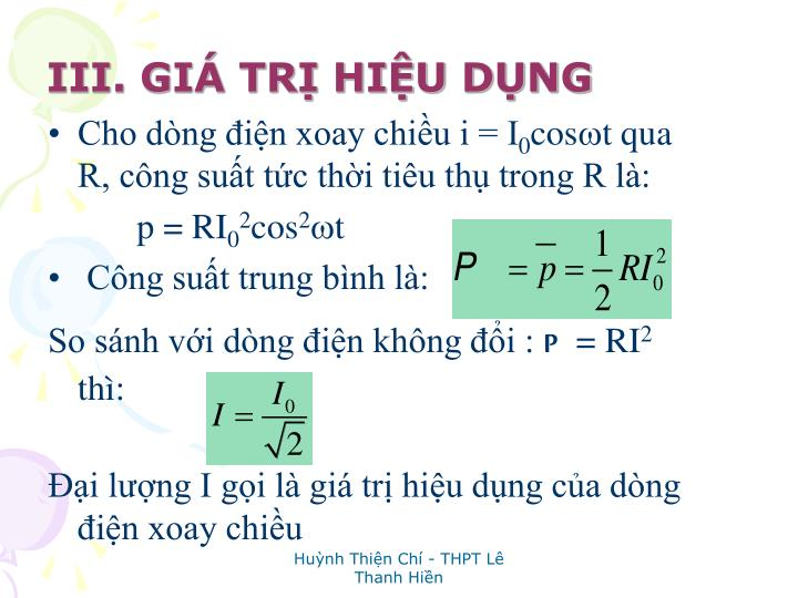 III. GI TR HIU DNG
