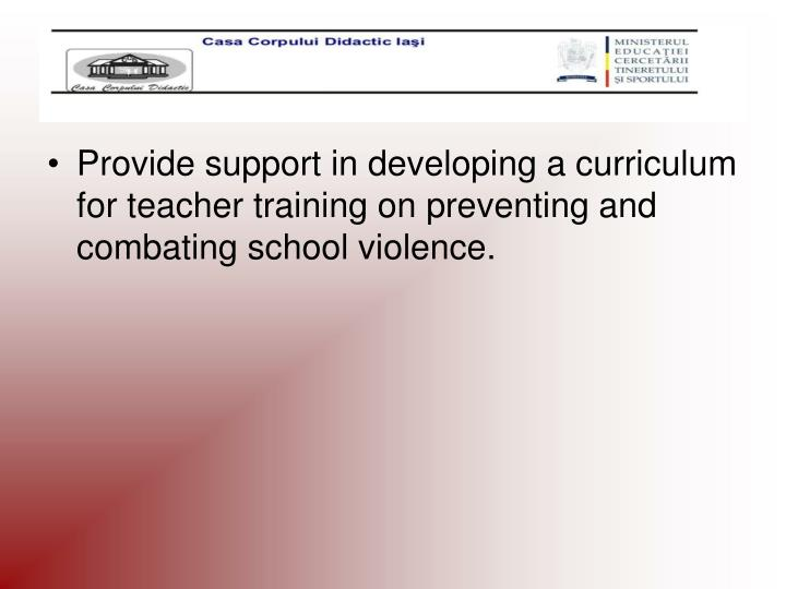 Provide support in developing a curriculum for teacher training on preventing and combating school violence.