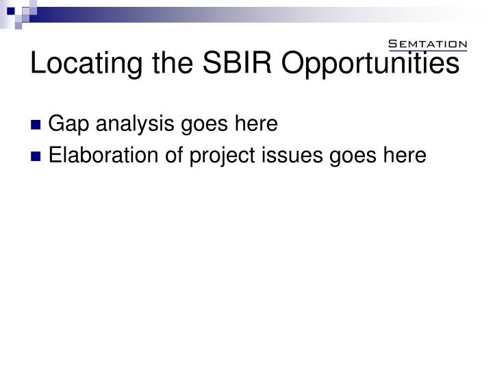 Locating the SBIR Opportunities