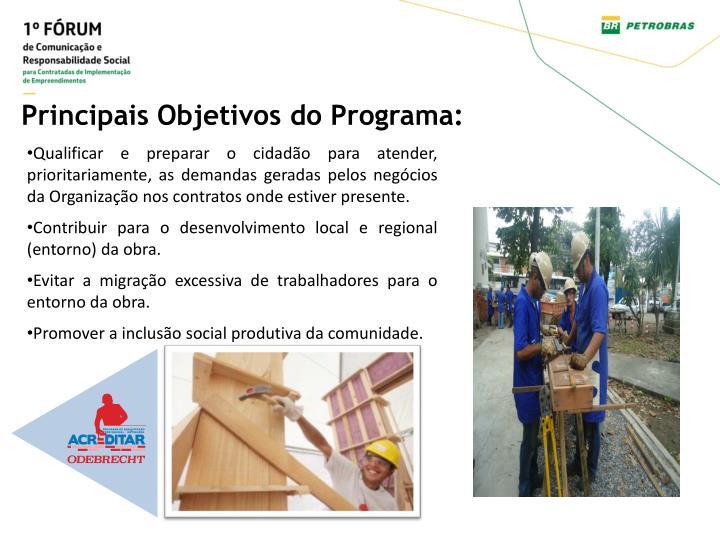 Principais Objetivos do Programa:
