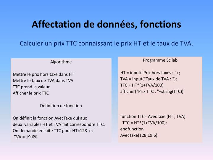 Affectation de données, fonctions