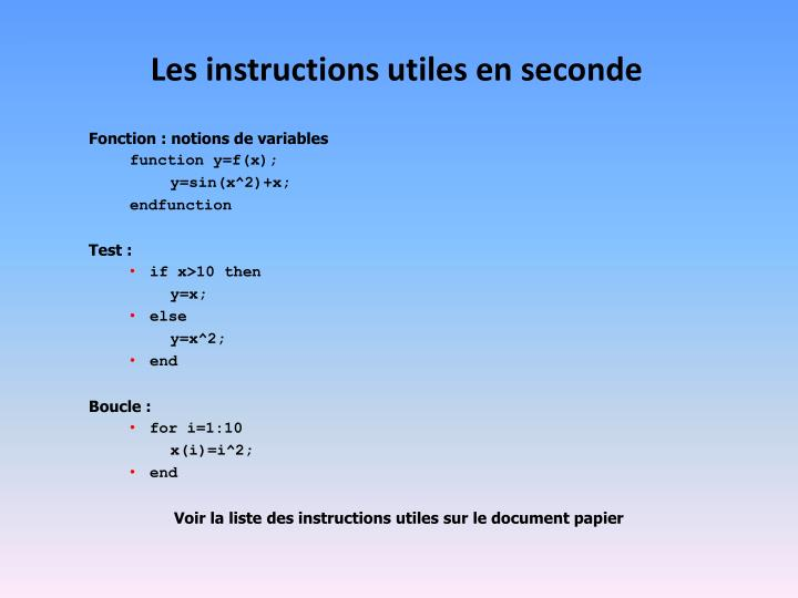 Les instructions utiles en seconde