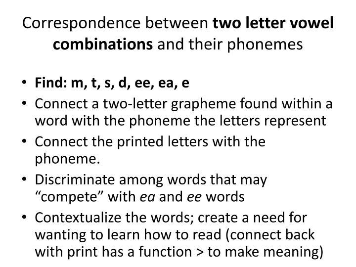 Correspondence between