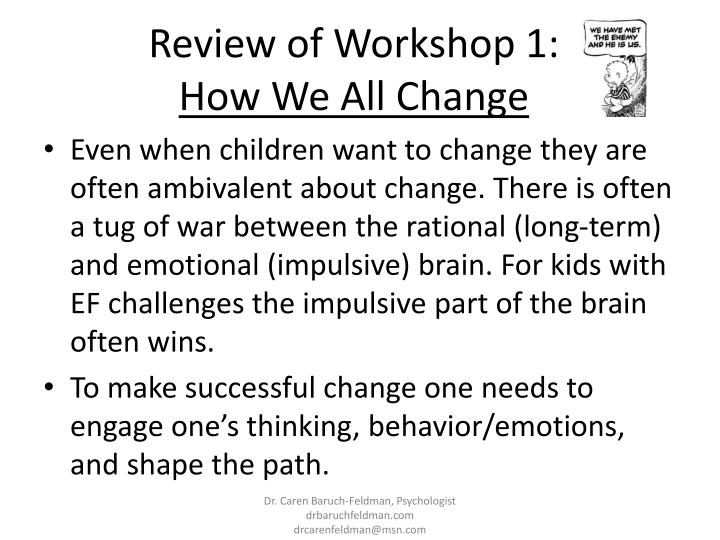 Review of Workshop 1: