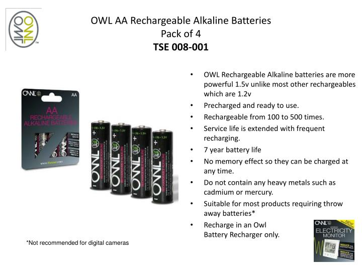 OWL AA Rechargeable Alkaline Batteries