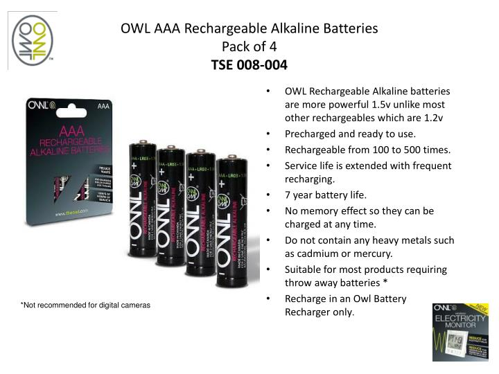 OWL AAA Rechargeable Alkaline Batteries
