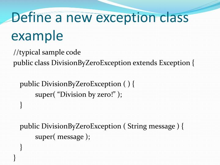 Define a new exception class example
