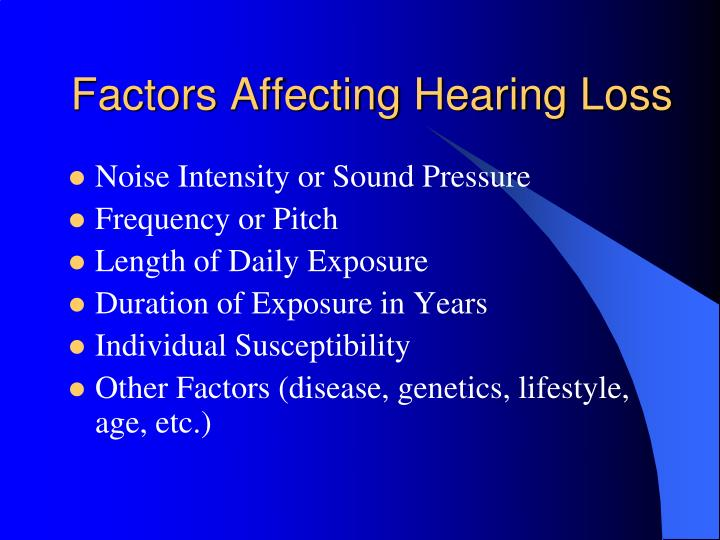 Factors Affecting Hearing Loss