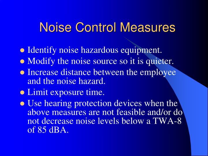 Noise Control Measures