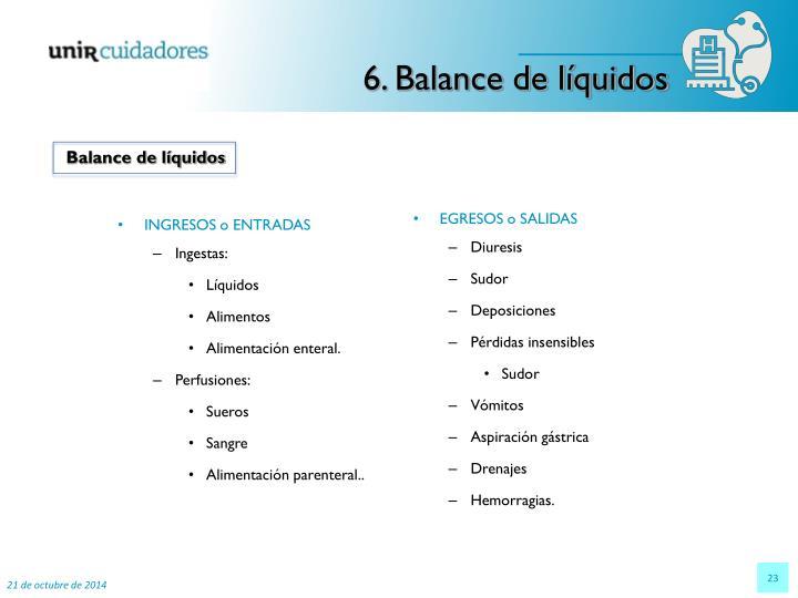 6. Balance de líquidos
