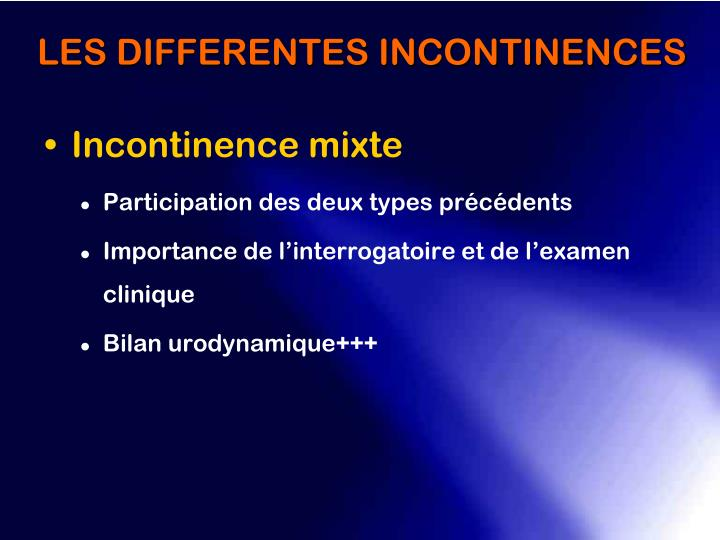Incontinence mixte